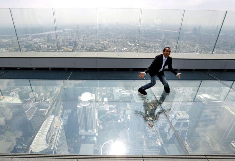 Walking on air. 314 metres above Bangkok.   The Thaiger