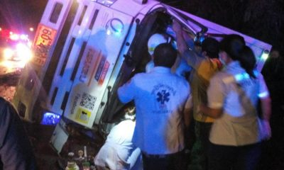 Two survive after a six wheeler overturns near the Sarasin Bridge | The Thaiger