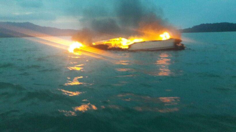ไฟไหม้เรือยอร์ชหรูหลังเกาะงำภูเก็ตผู้โดยสารต่างชาติ9คนปลอดภัย – คลิป | The Thaiger