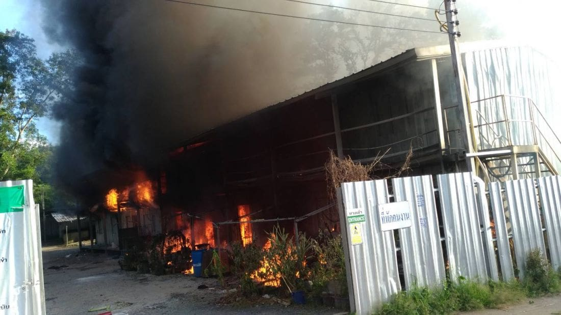 Fire destroys workers' camp in Kathu | The Thaiger