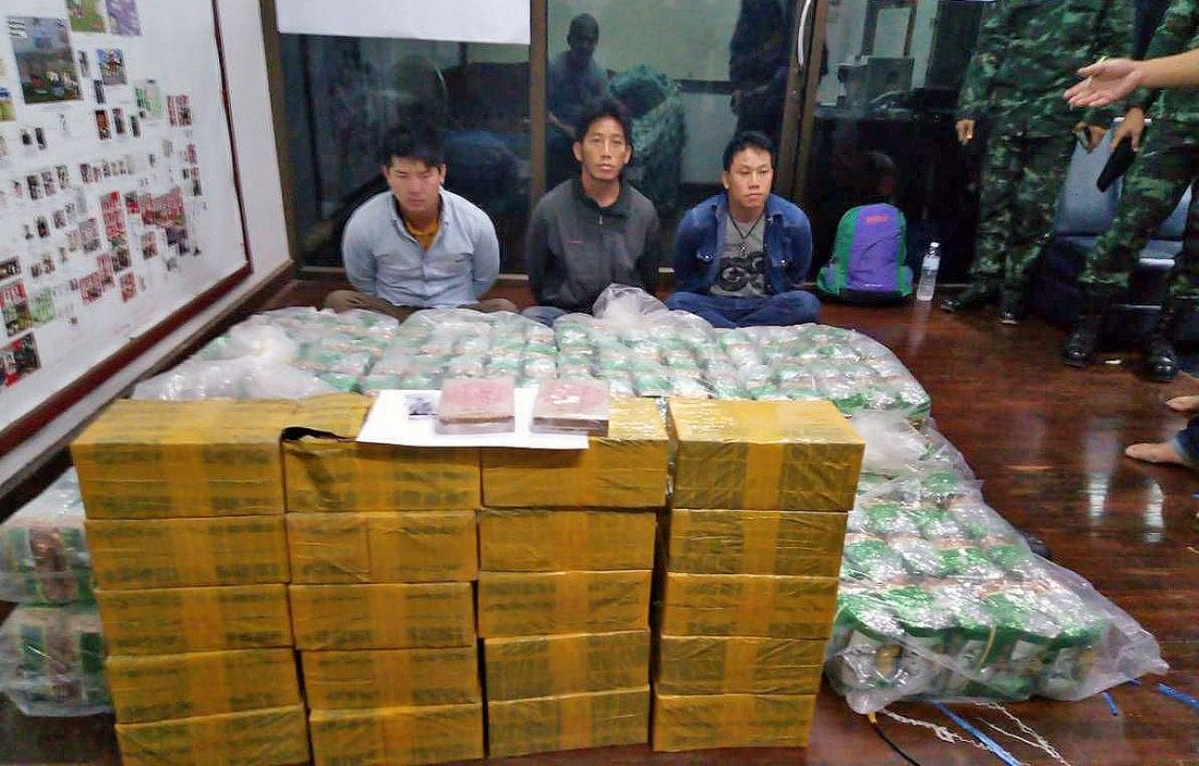 Narcotics officers arrest three with 370 kg of 'ice' and heroin in Chiang Rai | The Thaiger