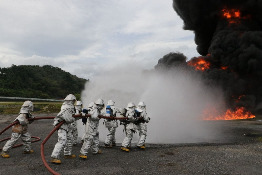 Emergency crews battle airport fire. All part of regular drills. | The Thaiger
