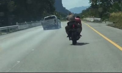 Police ride pillion on big bike to chase down a hit-and-run pick-up – VIDEO | The Thaiger