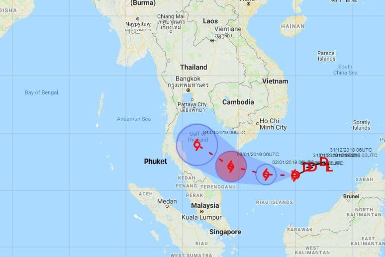 PABUK: Latest information on the path of the storm across the Gulf | The Thaiger