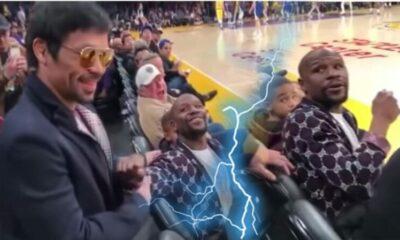 คลิป – เมย์เวทเธอร์ ป๊ะ ปาเกียว ในสนามเกม NBA ดูสีหน้าของแต่ละคนแล้วมันยังไง   The Thaiger