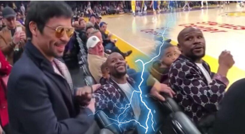 คลิป – เมย์เวทเธอร์ ป๊ะ ปาเกียว ในสนามเกม NBA ดูสีหน้าของแต่ละคนแล้วมันยังไง | The Thaiger