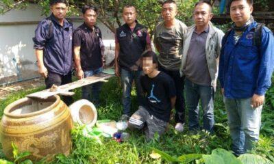 รวบหนุ่มลำปาง ซุกยาเสพติดในโอ่งมังกรหลังบ้าน | The Thaiger