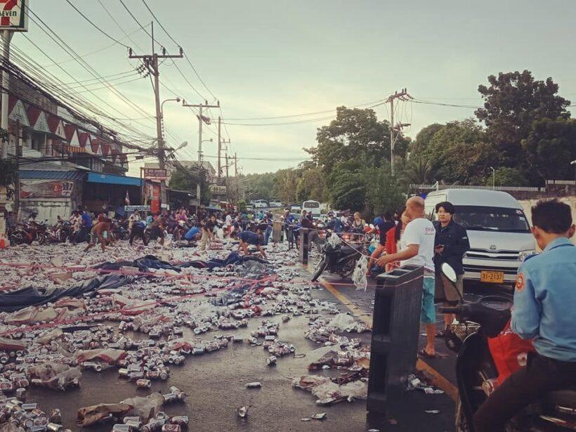 Beer truck overturns in Rassada, Phuket - VIDEO | News by The Thaiger