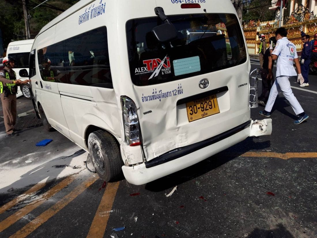 Bus crash on Patong Hill takes out 12 other vehicles, passengers in bus shaken | News by The Thaiger