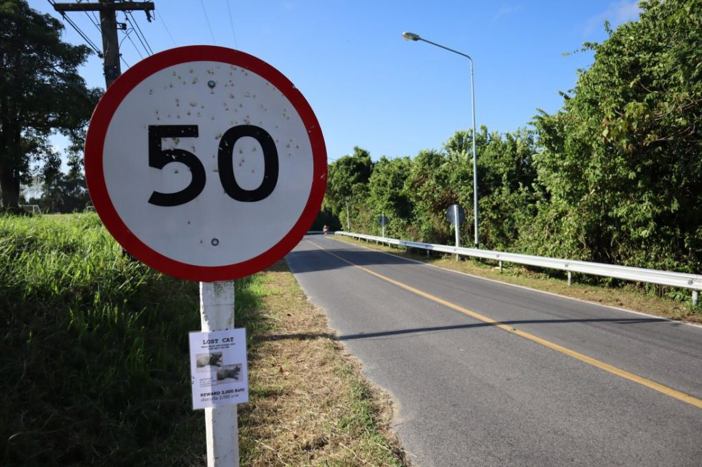Police chasing people taking pot shots at road signs in Rawai | News by Thaiger