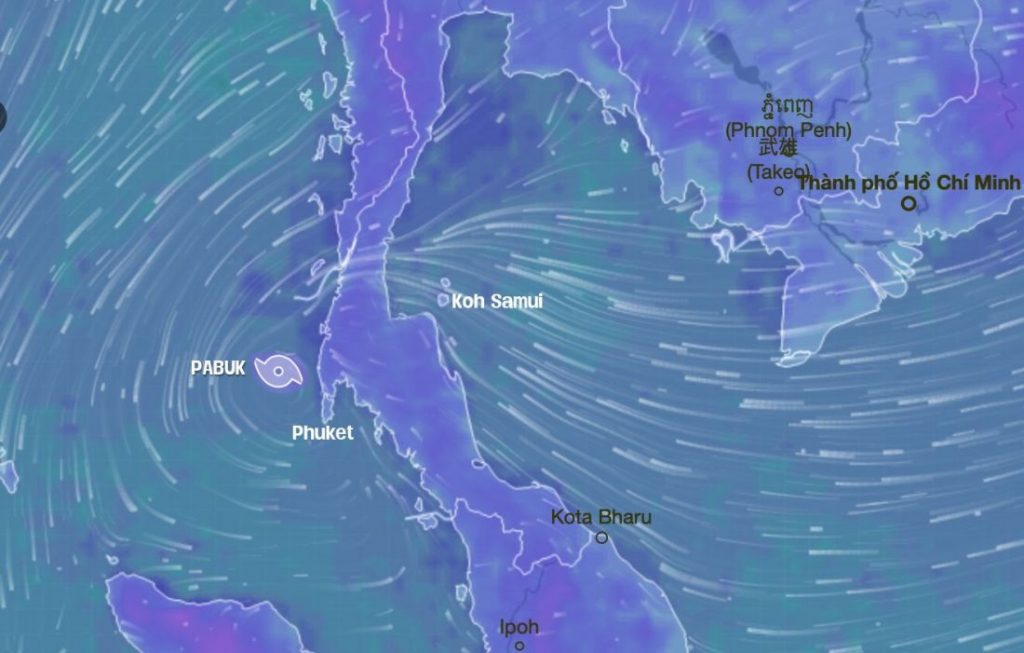 Pabuk: Now sits over Andaman Sea, moving west   News by Thaiger