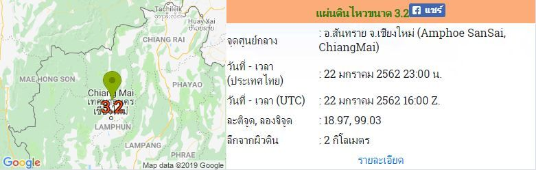 แผ่นดินไหว อ. สันทราย จ.เชียงใหม่ ขนาด 3.2 ซ้ำจุดเดิมในรอบ 5 วัน | News by The Thaiger