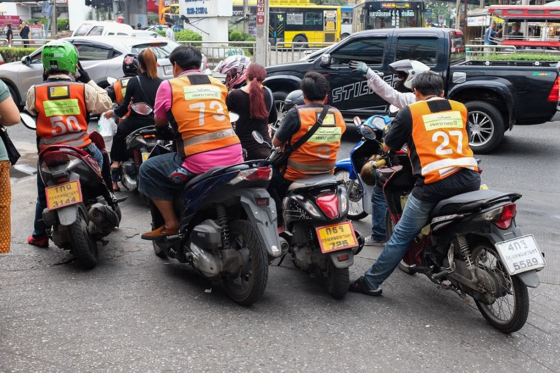 BMA introduces proper pavement stops for motorcycle taxis in Bangkok | The Thaiger