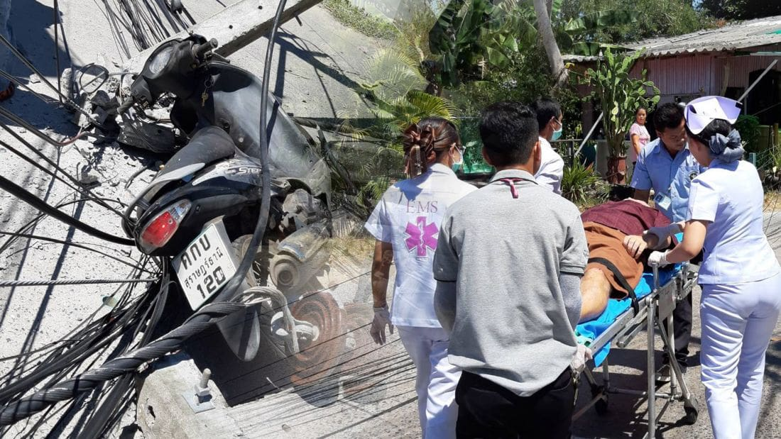 Cement truck brings down four power poles in Chalong, motorbike driver injured | The Thaiger