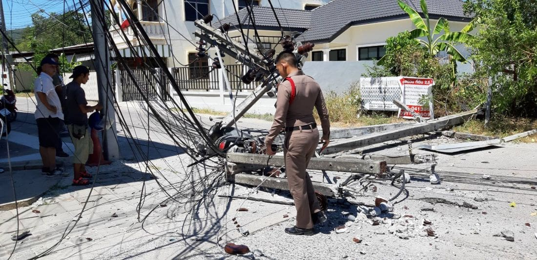 Cement truck brings down four power poles in Chalong, motorbike driver injured | News by The Thaiger