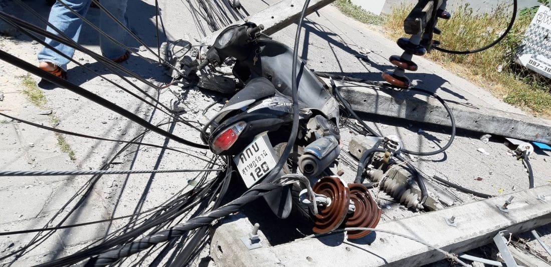 Cement truck brings down four power poles in Chalong, motorbike driver injured | News by Thaiger