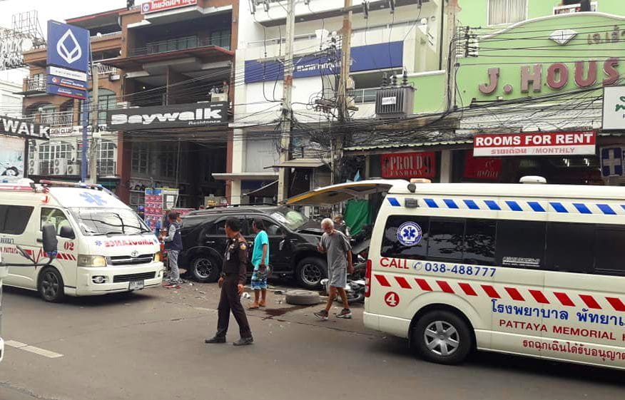 People hospitalised after car slams into parked motorbikes in Pattaya | The Thaiger