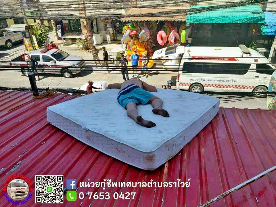 Phuket tourist decides hotel awning more comfortable than his room | The Thaiger