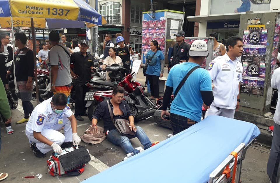 People hospitalised after car slams into parked motorbikes in Pattaya | News by The Thaiger
