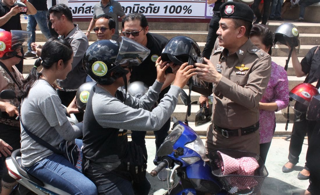 500 free helmets handed out to motorbike drivers in Patong | The Thaiger