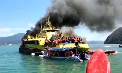 Langkawi ferry bursts into flames – passengers safe – VIDEO | The Thaiger