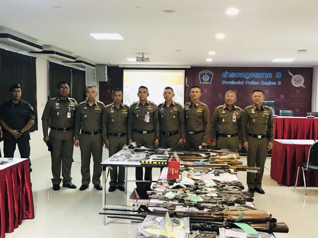 Firearms and drugs seized in southern provinces crackdown | News by Thaiger