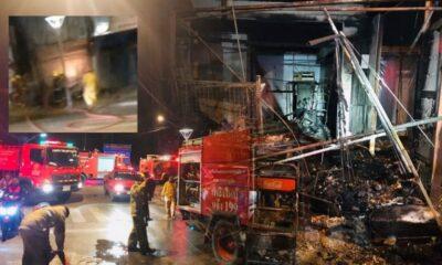 ไฟไหม้ร้านจำหน่ายน้ำมันขวด เจ้าของหนีตายออกหลังร้าน พบสาวร่างใหญ่มาหน้าร้านก่อนเกิดเหตุ คาดถูกวางเพลิง | The Thaiger