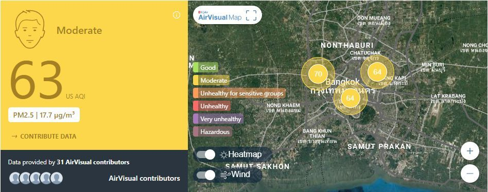 Air quality for Thailand – February 22 | News by The Thaiger