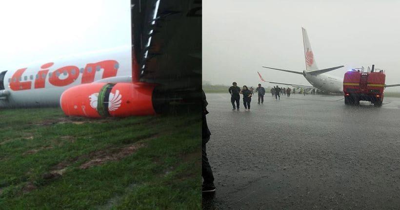 คลิปหนีตายระทึก! วินาทีเครื่องบินไลอ้อนแอร์ไถลนอกรันเวย์ | The Thaiger
