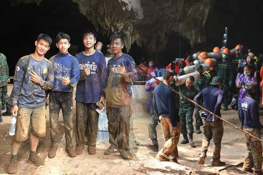 Mu Pa football team helps recover equipment from Tham Luang Caves