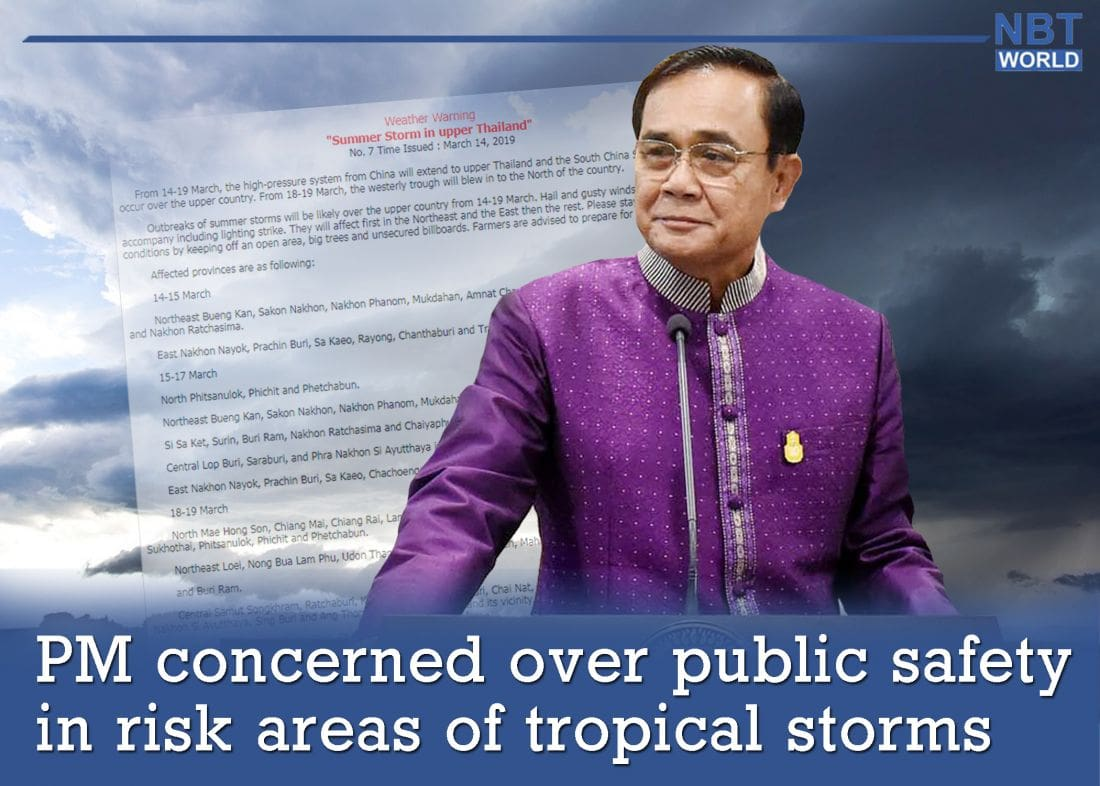 PM concerned over public safety in northern areas because of tropical storm warnings | The Thaiger