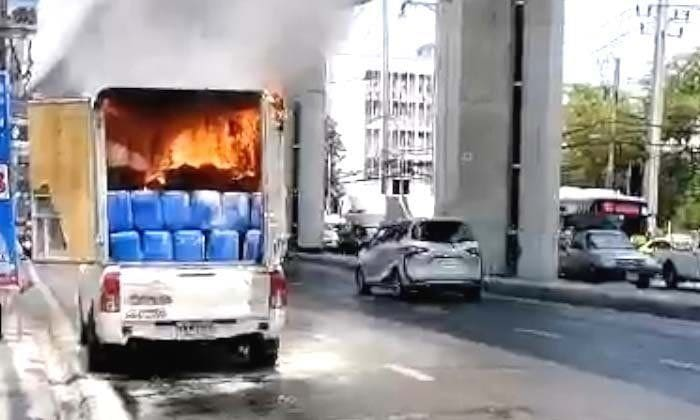 Chemical fire in a pick-up on on Sukhumvit Road | News by The Thaiger