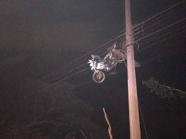 Flying motorbike ends up stuck in power lines in Surin | News by The Thaiger