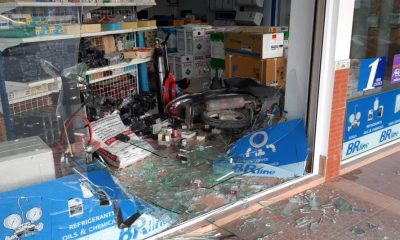Motorbike driver smashes through glass window after accelerator malfunctions | The Thaiger