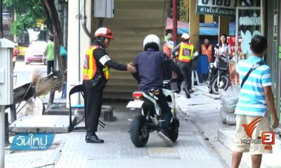 206 motorcyclists fined 1000 baht in one hour for riding on footpath | The Thaiger