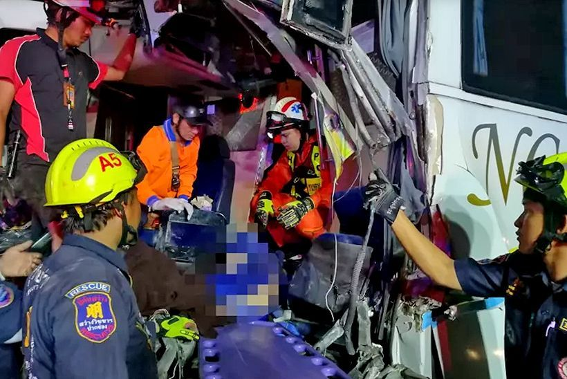 Female killed, 24 passengers injured in Korat bus crash | The Thaiger