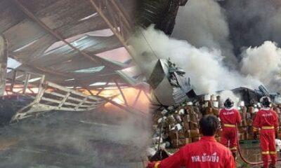 พนักงานหนีตาย เพลิงไหม้โรงงานทอผ้าบ้านบึง เพลิงโหมหลอมหลังคาถล่ม | The Thaiger