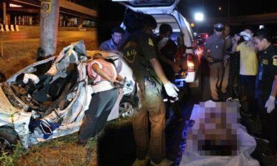 สาวกลับจากปาร์ตี้ ซิ่งเก๋งชนเสาไฟฟ้า ศพกระเด็นนอกรถ อึ้ง สวมแค่ชุดชั้นใน | The Thaiger