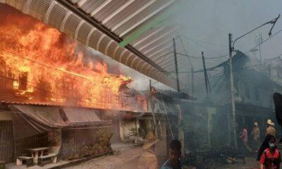 ด่วน เกิดเพลิงไหม้กลางเมืองกาญจนบุรี ไฟลามวอดบ้านประชาชนวอด | The Thaiger