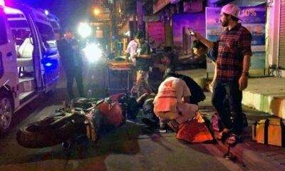 Big bike slams into the back of SUV at Pattaya traffic lights | The Thaiger