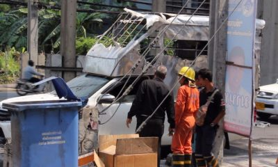 Chemical fire in a pick-up on on Sukhumvit Road | The Thaiger