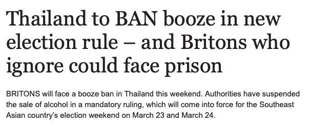Alcohol ban again this weekend around Thailand | News by The Thaiger