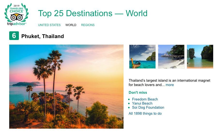 Phuket ranked sixth Best Destination in the World - Trip Advisor | News by The Thaiger