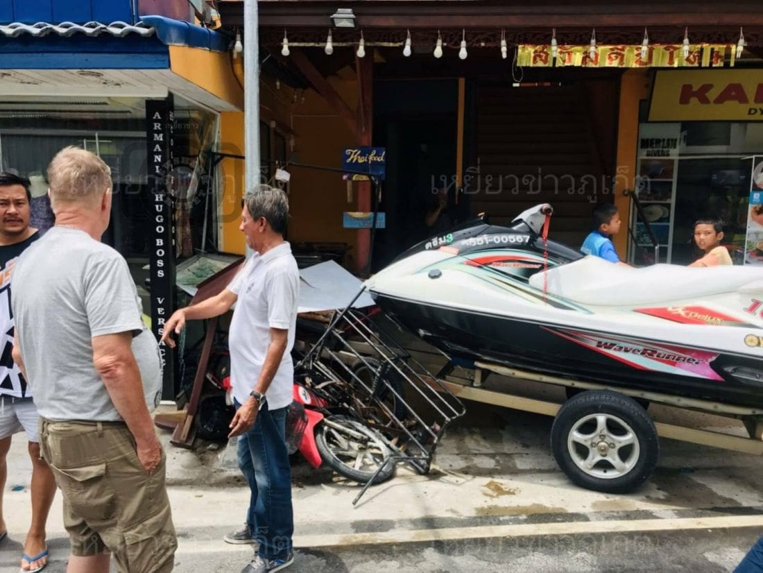 JetSki crashes into shop in Kamala, Phuket | News by The Thaiger