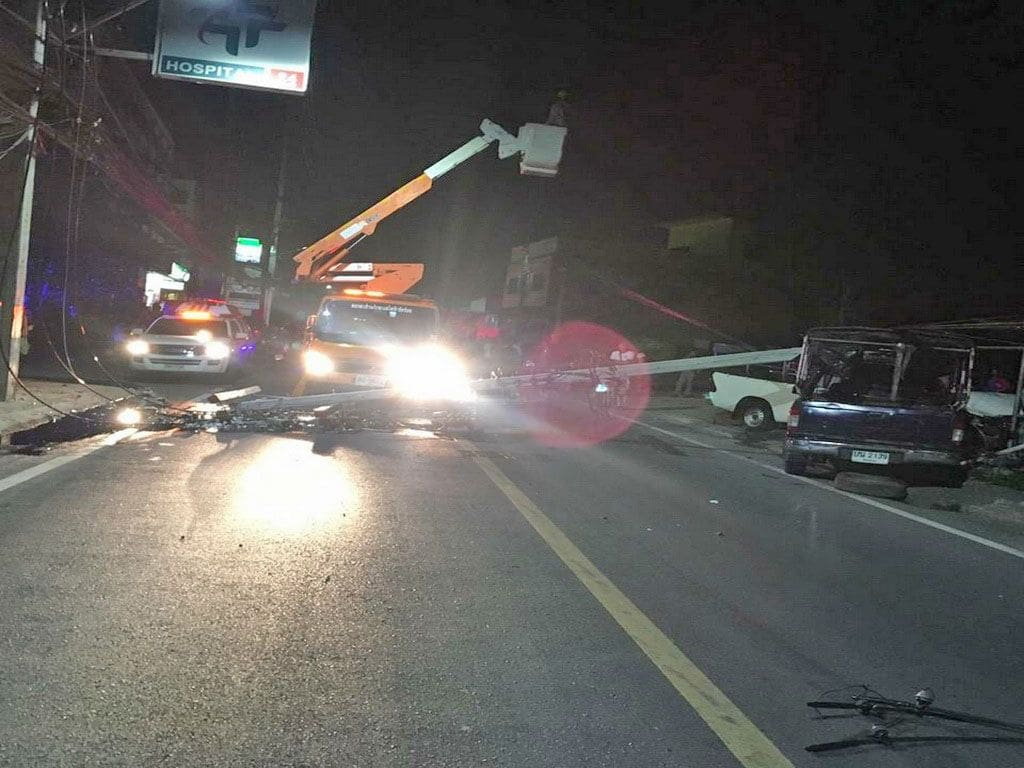 Pickup truck crashes into power pole in Wichit, causes five hour blackout | The Thaiger