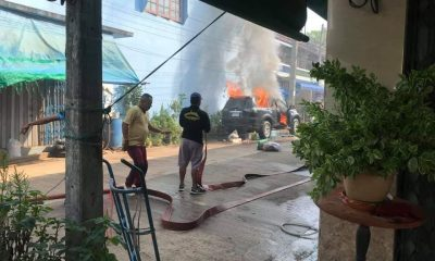SUV catches fire sitting in Trang's hot sun | The Thaiger