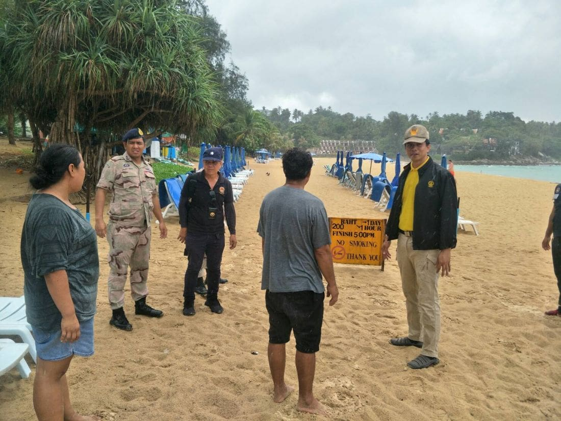 Officers inspect Karon Beach following complaints of sun lounge zoning   The Thaiger