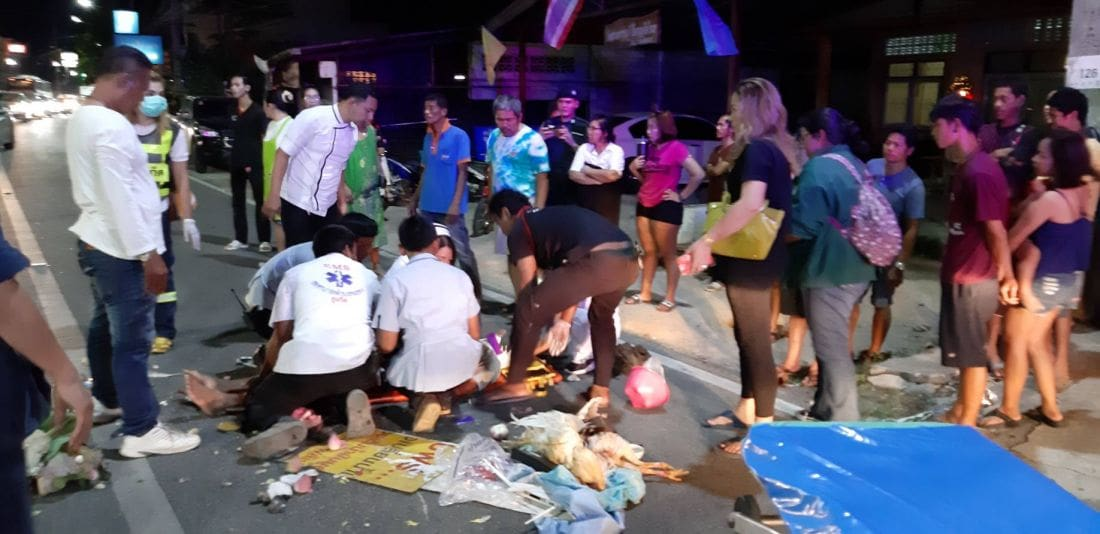 Three people injured, two chickens die in Chalong crash   The Thaiger