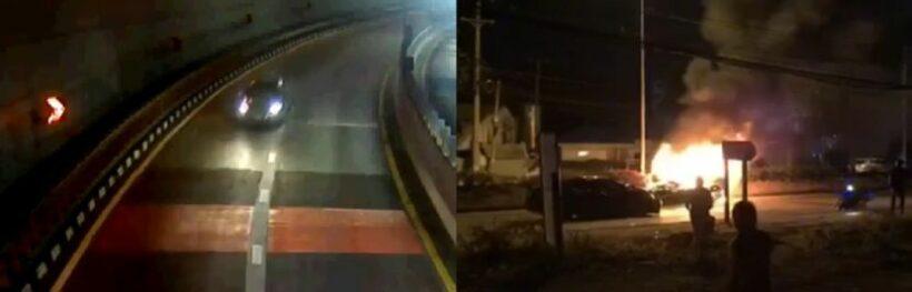คลิปวินาทีหญิงขับเก๋งย้อนศร ก่อนชนรถเลนปกติไฟลุกท่วม เชียงใหม่ | The Thaiger