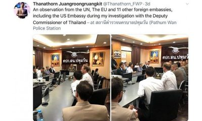 Deputy police chief denies foreign diplomats present at Thanathorn interrogation | The Thaiger